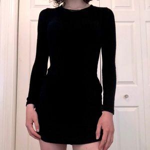 High Neck Long Sleeve Shimmery Detailed Dress